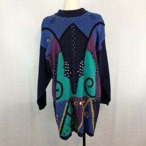 Bonnie and Bill 80's Geometric Sweater Dress 3X